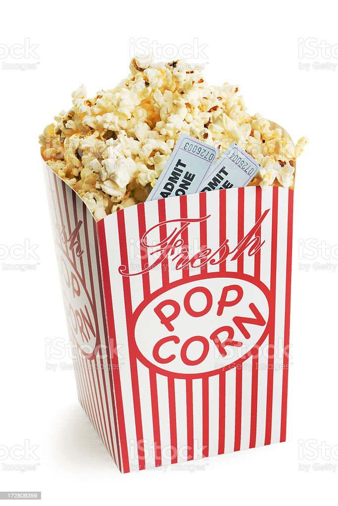 Movie Ticket Stubs in Popcorn Box for Nightlife Entertainment Event stock photo