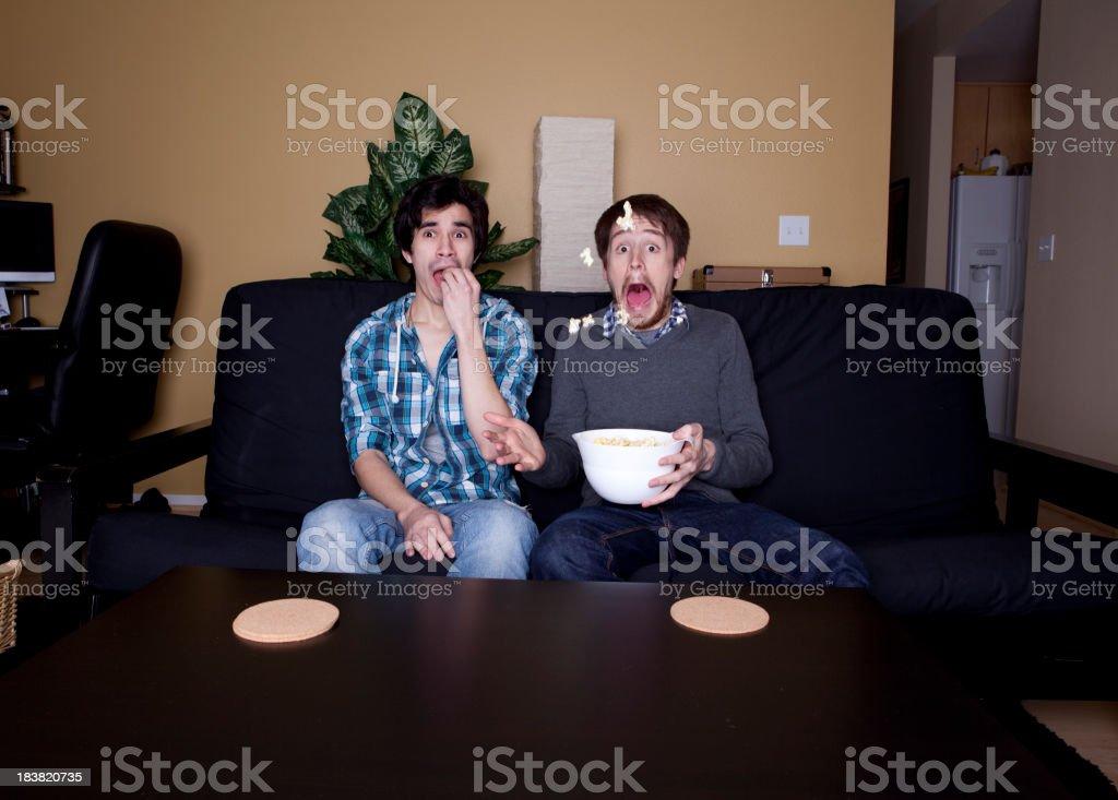 Movie Watching Dudes stock photo