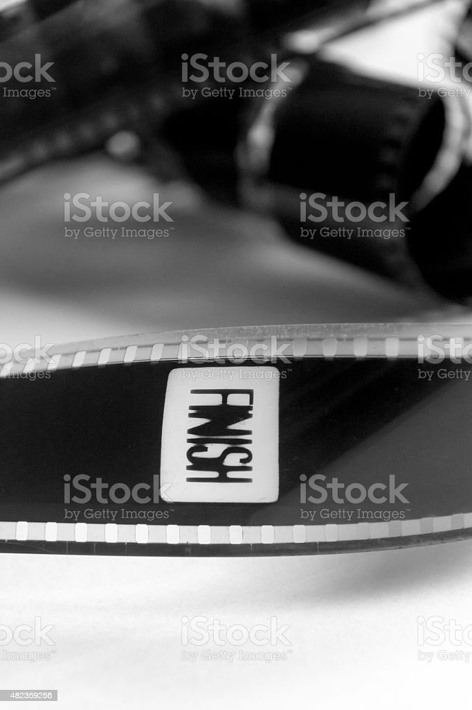 Movie with a frame with the word finish stock photo
