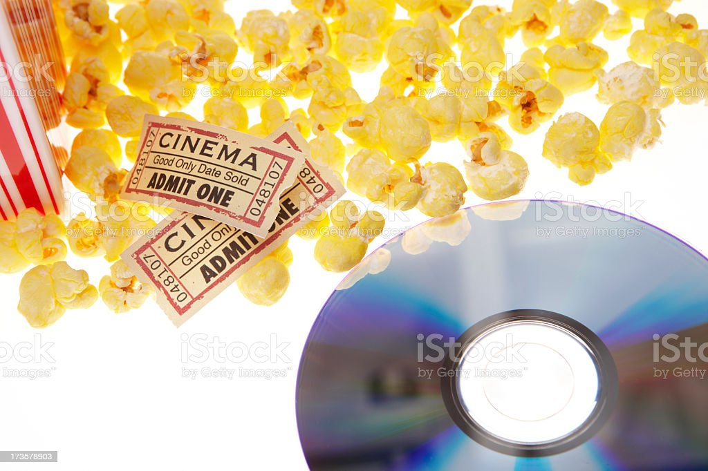 DVD movie with pop corn and tickets royalty-free stock photo