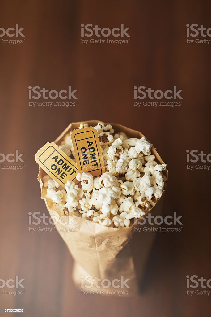Movies aren't the same without popcorn! stock photo