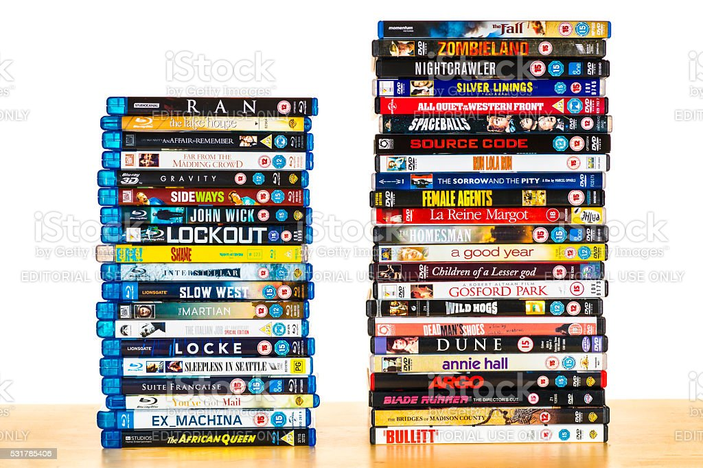 Movies in Bluray and DVD stacks stock photo