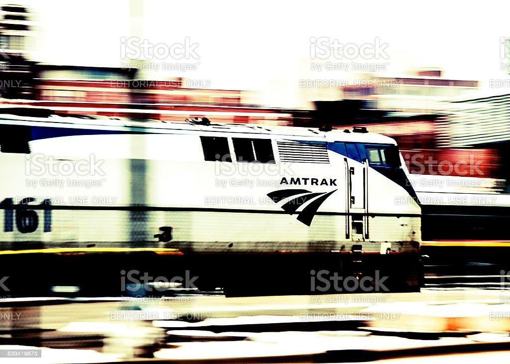 Moving Amtrak Passenger Train royalty-free stock photo