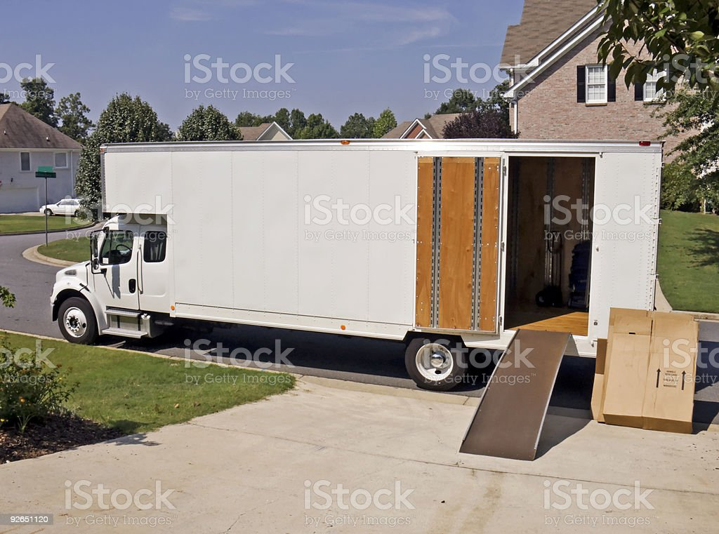 Moving and storage truck Side View With Open Door stock photo