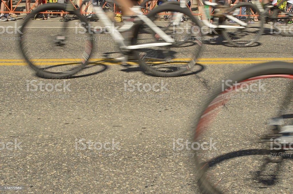 Moving bicycles racing for the Finish Line stock photo
