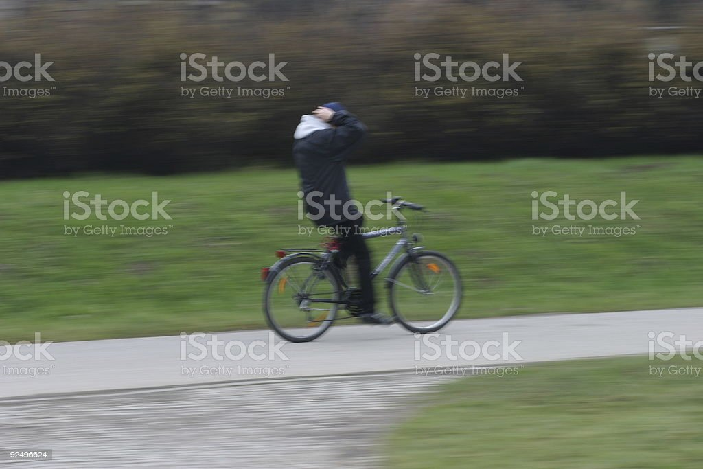 Moving biker royalty-free stock photo