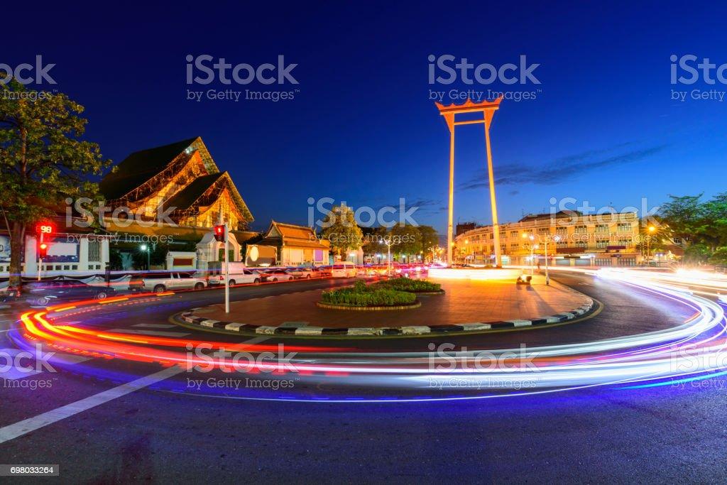 Moving blur light around the Giant swing landmark in Bangkok stock photo