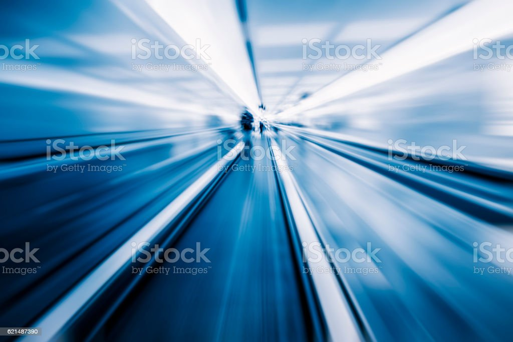 Moving blur travolator in airport stock photo