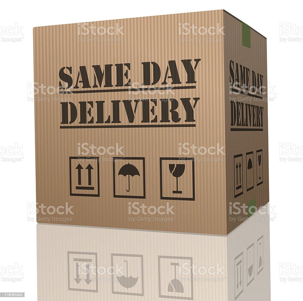 A moving box is taped closed and ready for same day delivery royalty-free stock photo