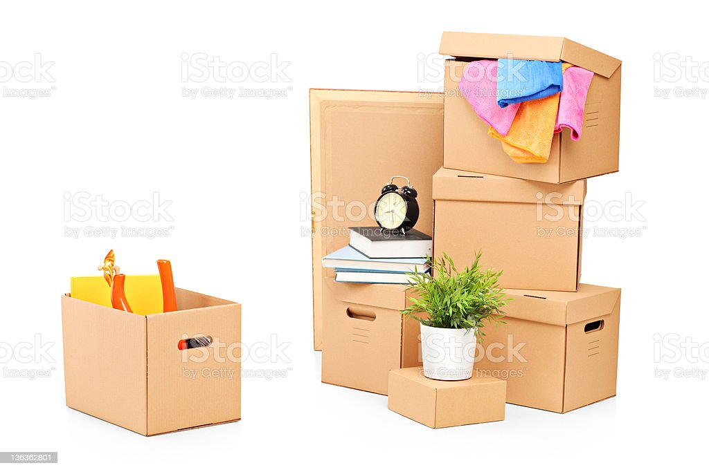Moving boxes and other stuff royalty-free stock photo