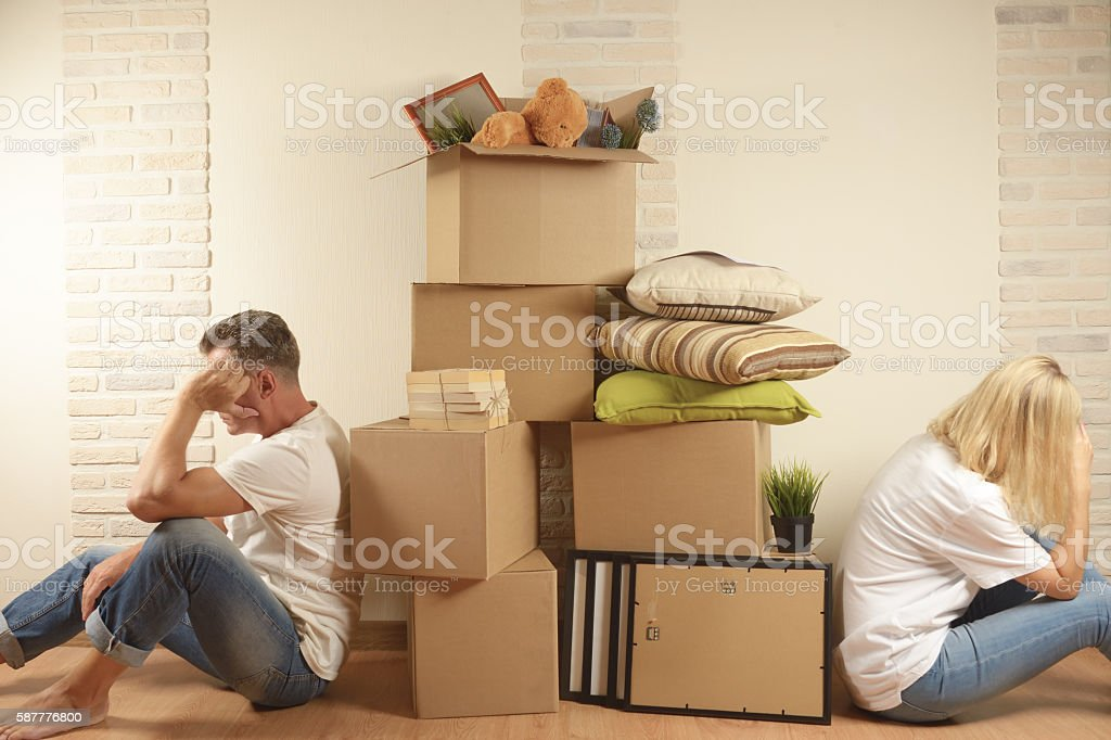 Moving can be a time of stress stock photo