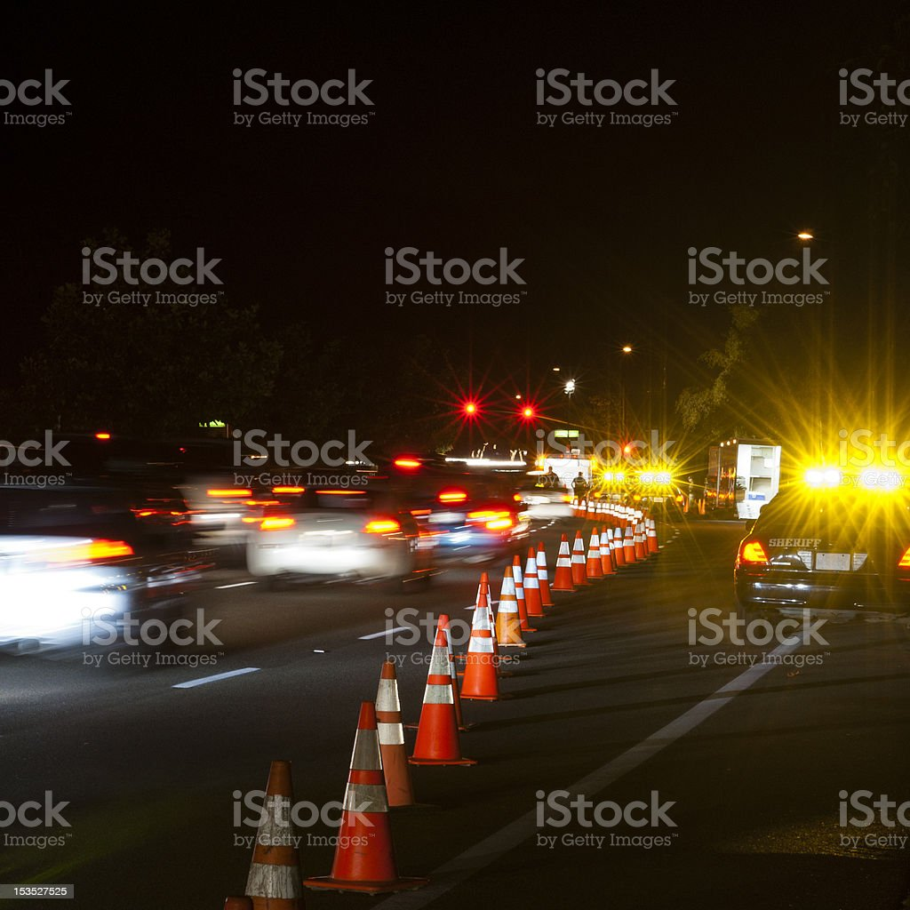 Moving cars at Checkpoint stock photo