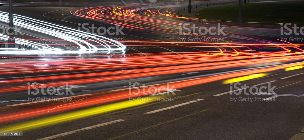 Moving cars on highway royalty-free stock photo