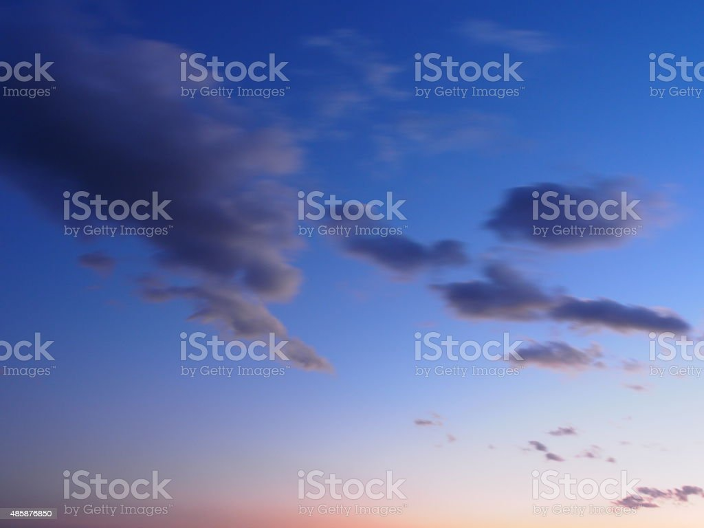 Moving Clouds in Sunset Sky of Nasu Highland stock photo