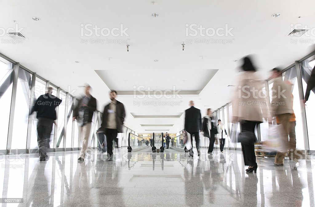 moving croud and escalator stock photo