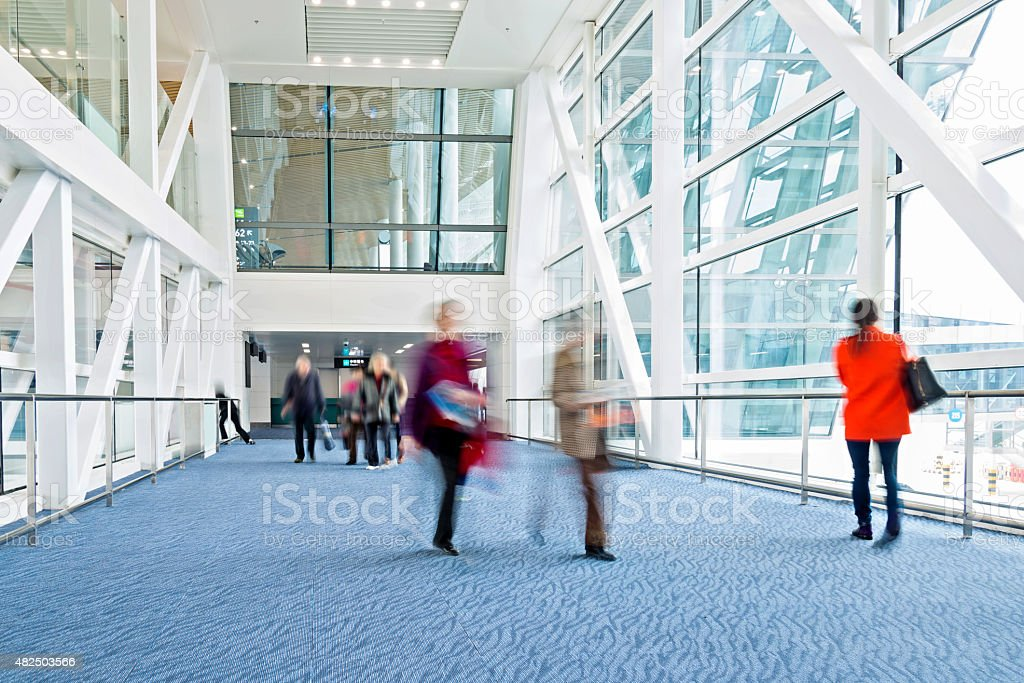 moving crowd stock photo