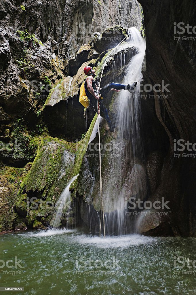 Moving down by the waterfall royalty-free stock photo