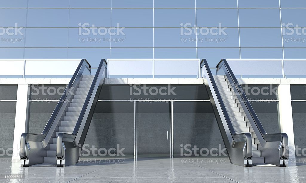 Moving escalator and modern office building royalty-free stock photo