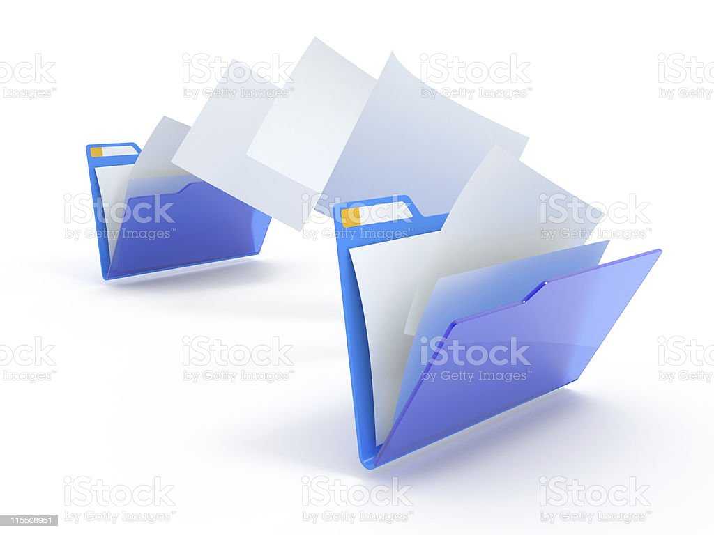 Moving files. stock photo