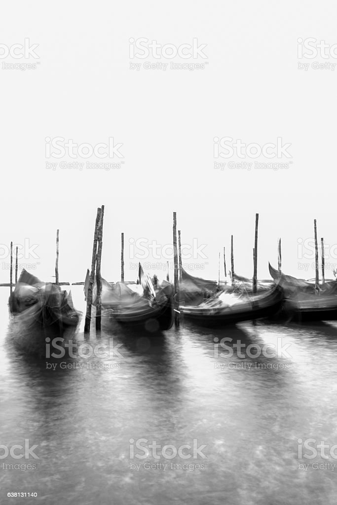 Moving Gondolas in front of San Marco square, Venice Italy stock photo