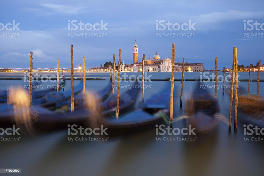 Moving gondolas in Venice, Italy royalty-free stock photo