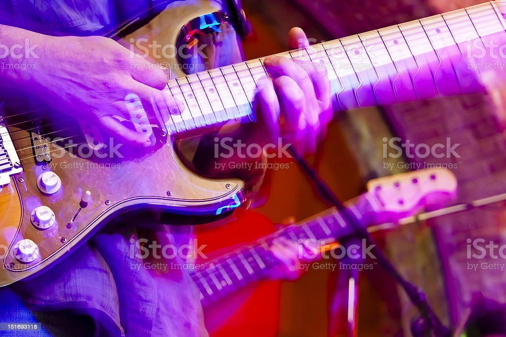 Moving guitars. stock photo
