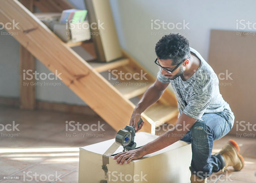 Moving home and packing stock photo