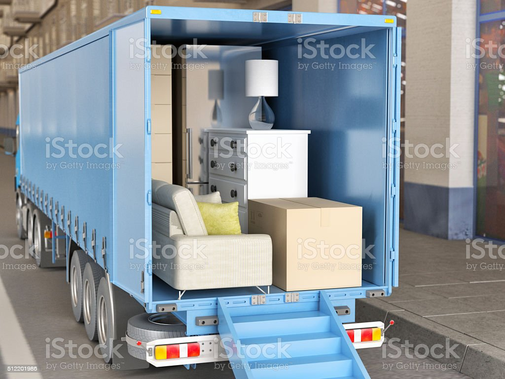 Moving house and loading van stock photo