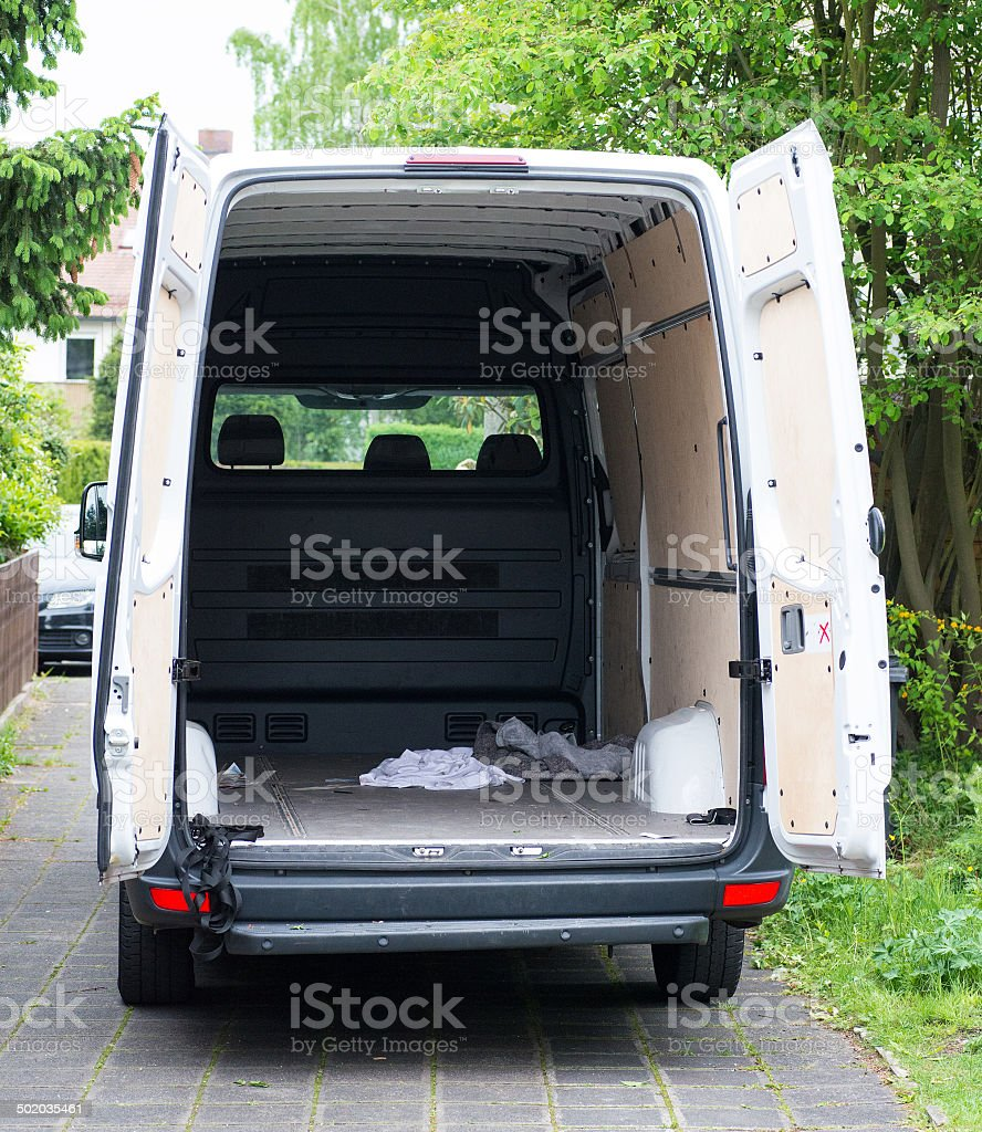 moving house float - Umzugswagen stock photo
