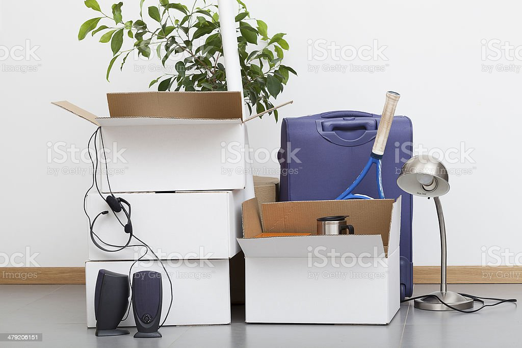 Moving house pile stock photo