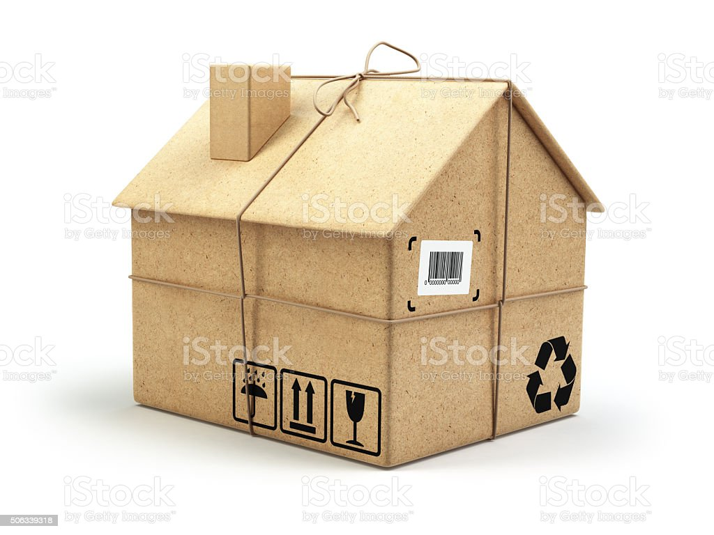 Moving house. Real estate market. Delivery concept. Cardboard bo stock photo