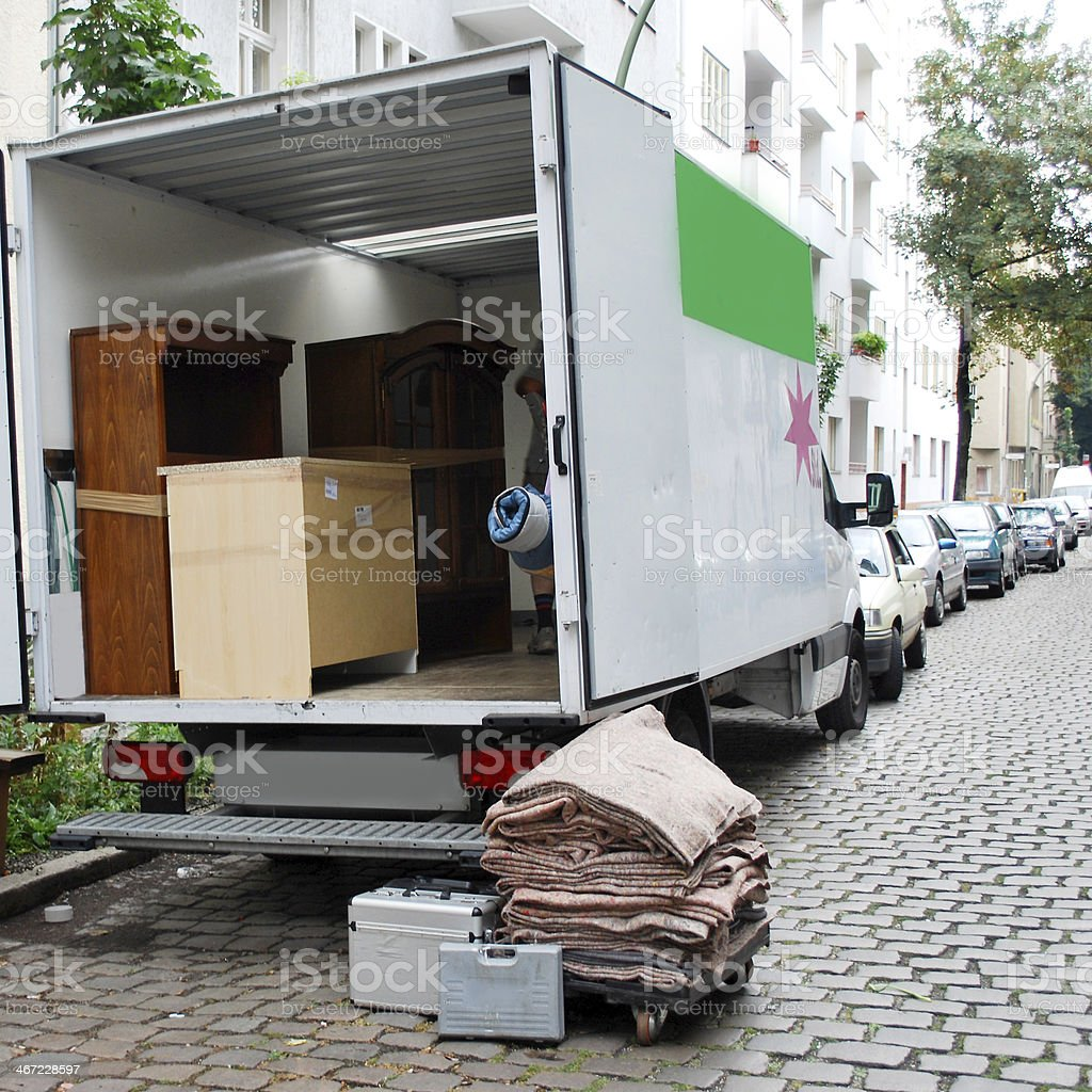 moving house van stock photo