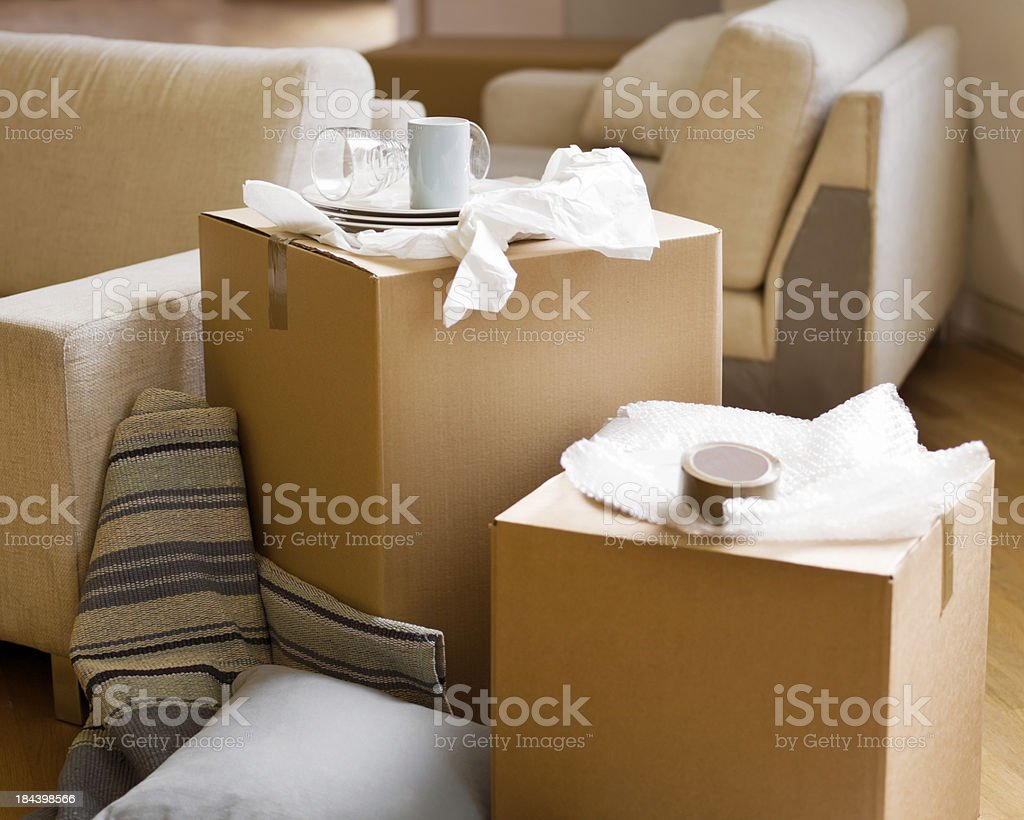Moving In - Unpacked boxes of China royalty-free stock photo