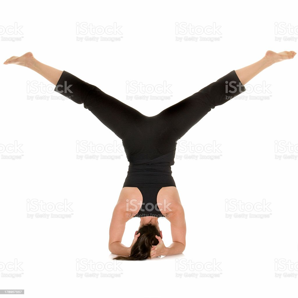 Moving into Yoga Headstand royalty-free stock photo