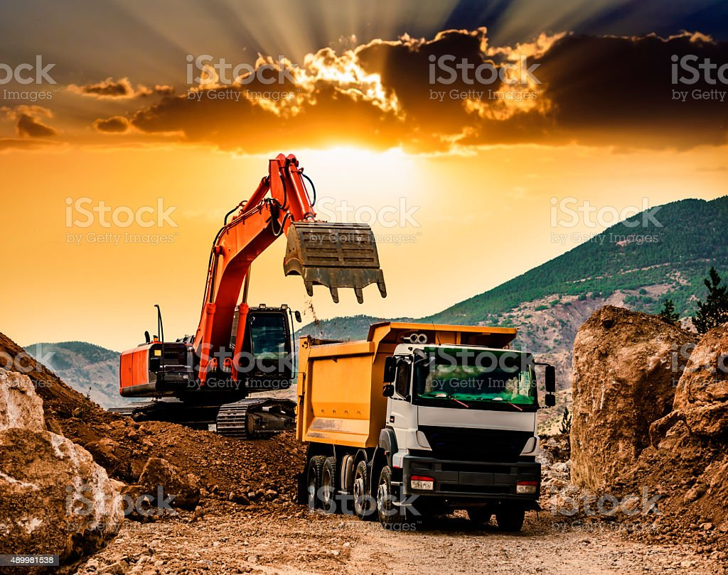 Moving Mountains at sunset stock photo