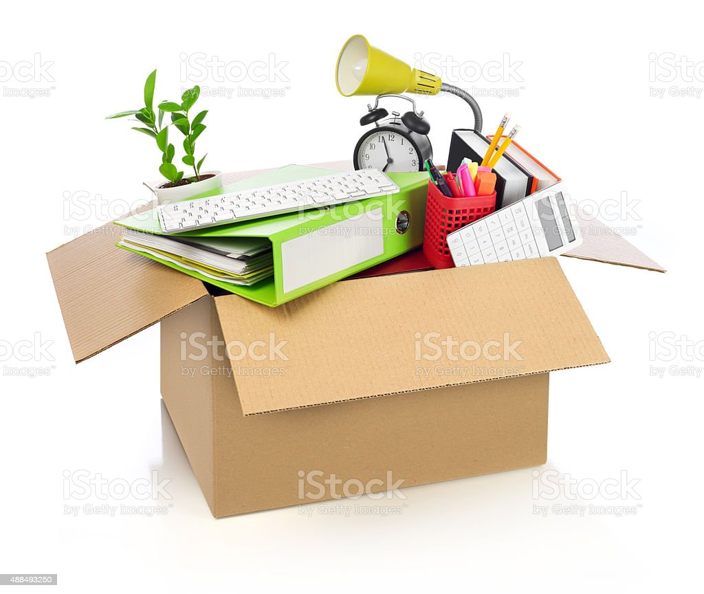 Moving office stock photo