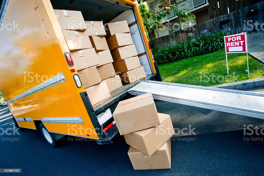 moving out of the apartment stock photo