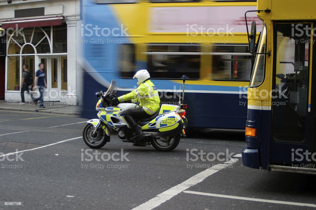 Moving Police Motorcycle royalty-free stock photo