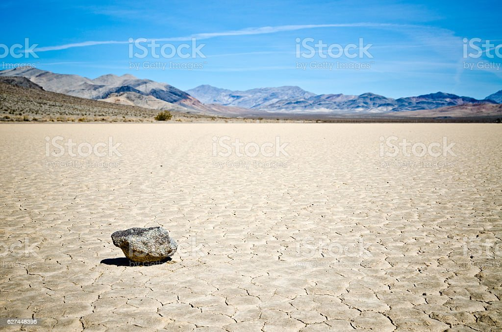 Moving rocks at Racetrack Playa in Death Valley stock photo
