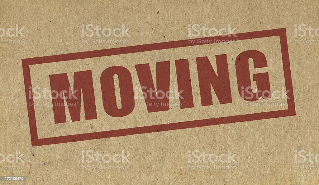 Moving sign on cardboard royalty-free stock photo