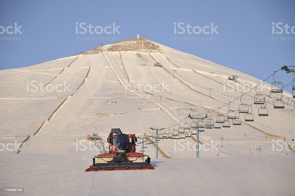 Moving snowcat royalty-free stock photo