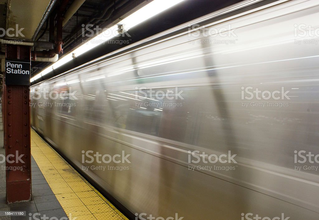 Moving subway train in NYC stock photo