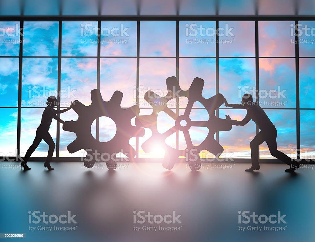 Moving the company forward stock photo