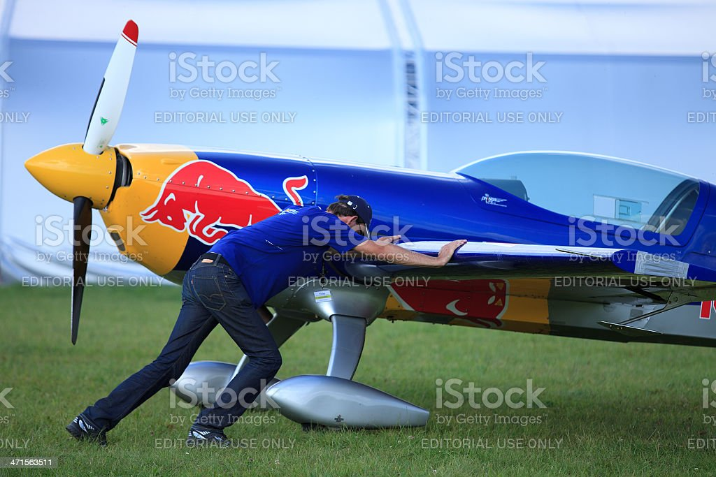 Moving the stunt plane royalty-free stock photo
