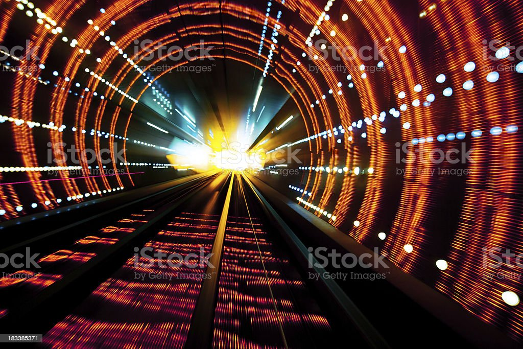 moving through the tunnel stock photo