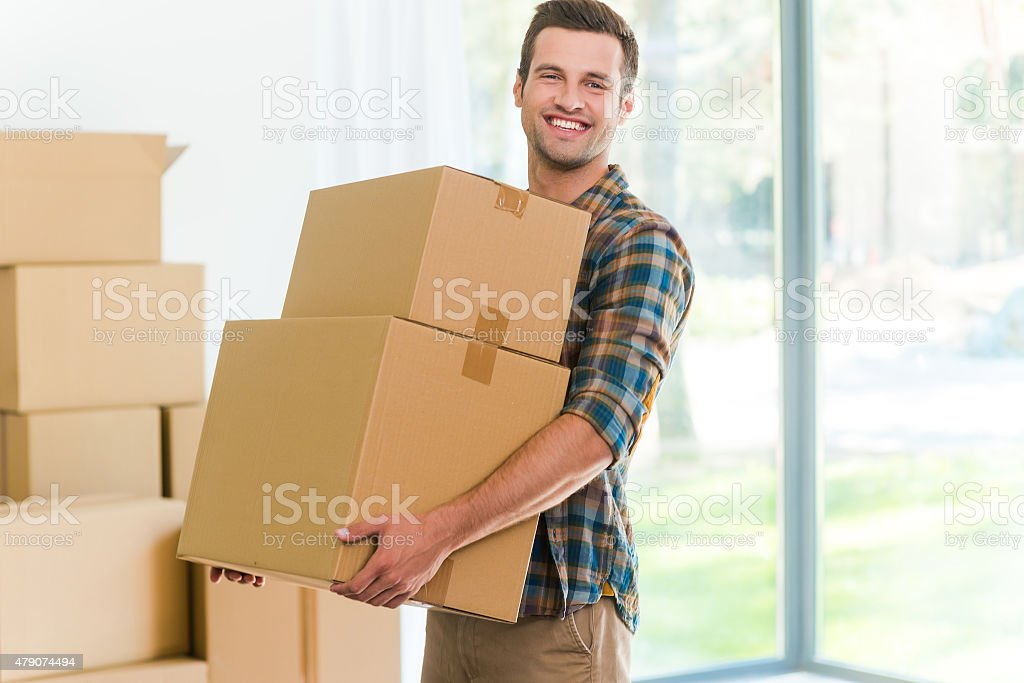 Moving to a new apartment. stock photo