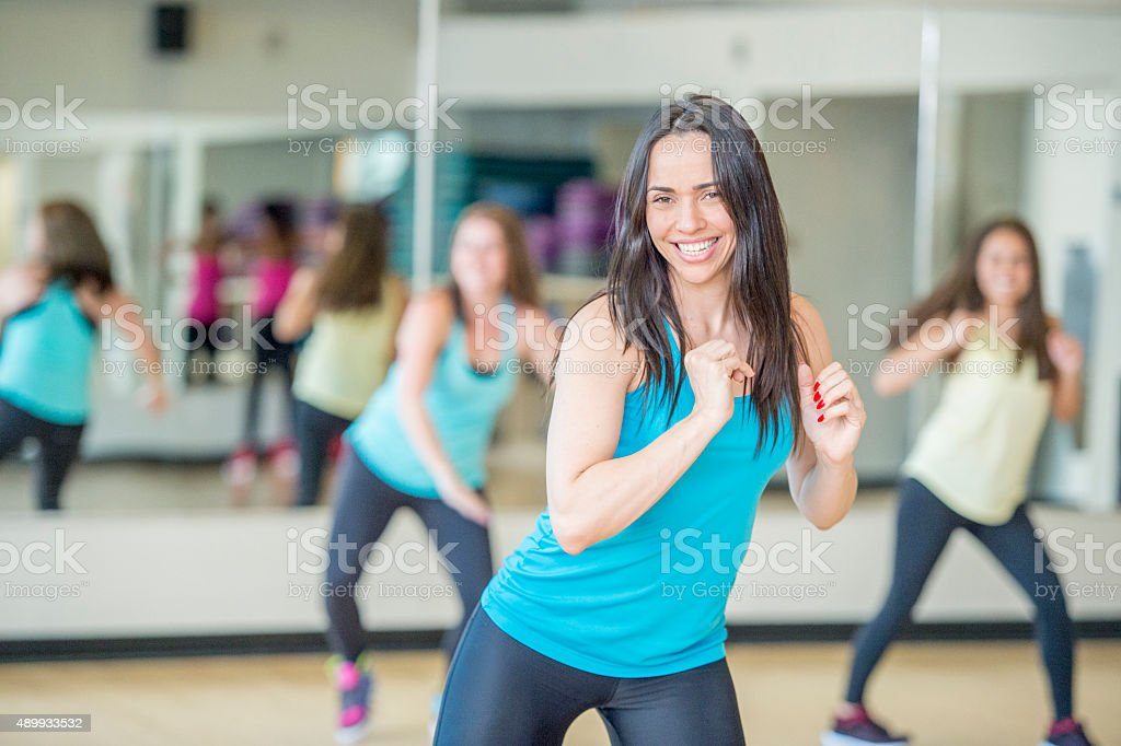 Moving to the Music In Dance Fitness Class stock photo