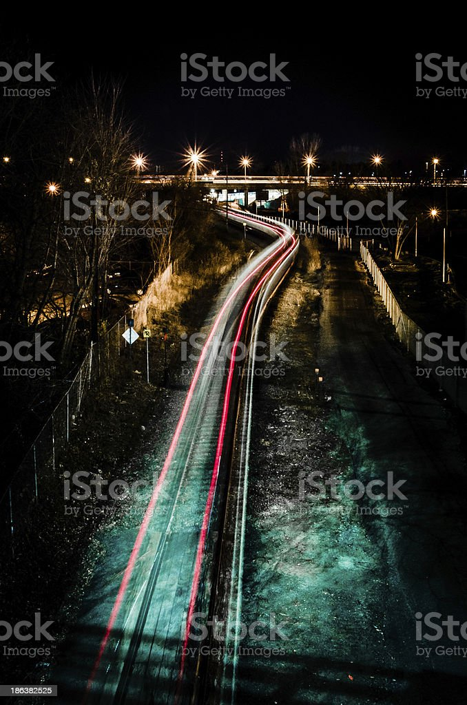 Moving Train by Night stock photo