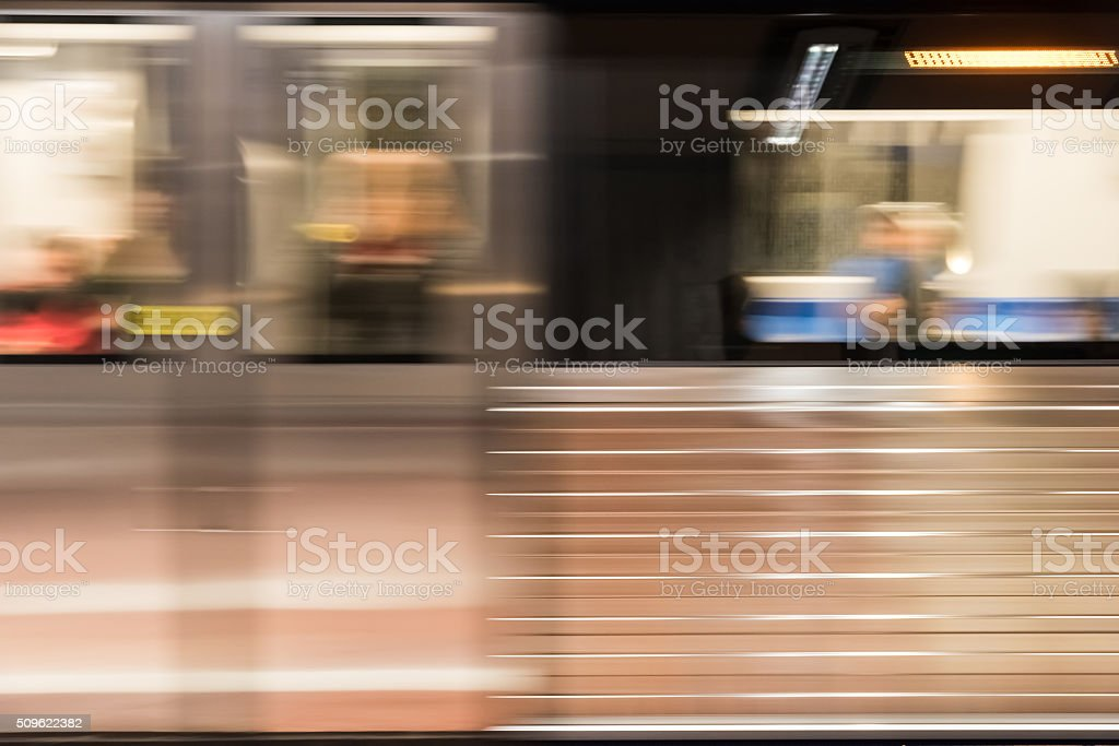 Moving Train In Subway Station stock photo