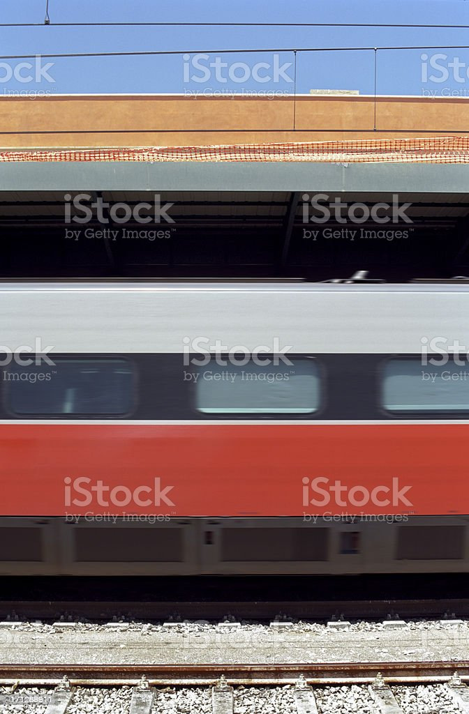 Moving Train leaving the station (abstract) royalty-free stock photo